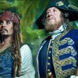 Captain Jack (Johnny Depp) and Hector Barbossa (Geoffrey Rush) in a scene from the movie.