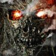"""A """"motion"""" teaser poster for the film reveals a Terminator skull rising up from a devastated Los Angeles cityscape."""